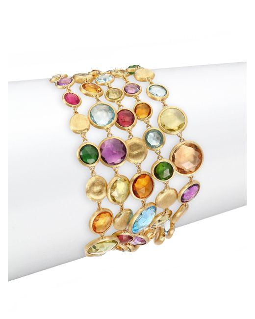 Marco Bicego - Metallic Jaipur Semi-precious Multi-stone & 18k Yellow Gold Five-strand Bracelet - Lyst