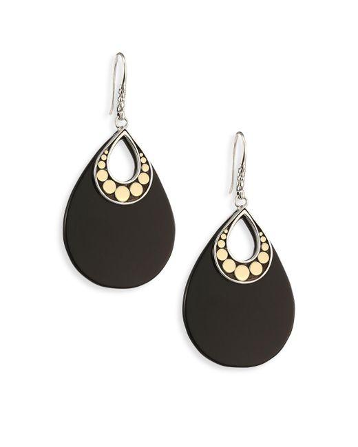 John Hardy - Dot Black Onyx & 18k Yellow Gold Drop Earrings - Lyst