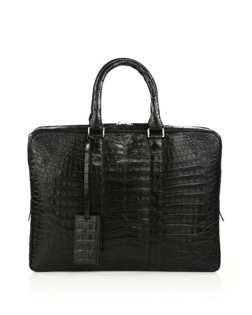 Santiago Gonzalez - Black Crocodile Slim Briefcase for Men - Lyst