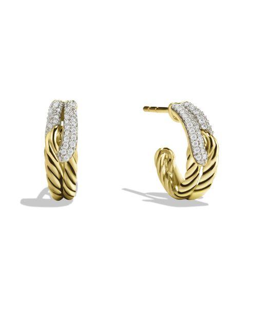 David Yurman - Metallic Labyrinth Single-loop Earrings With Diamonds In Gold - Lyst