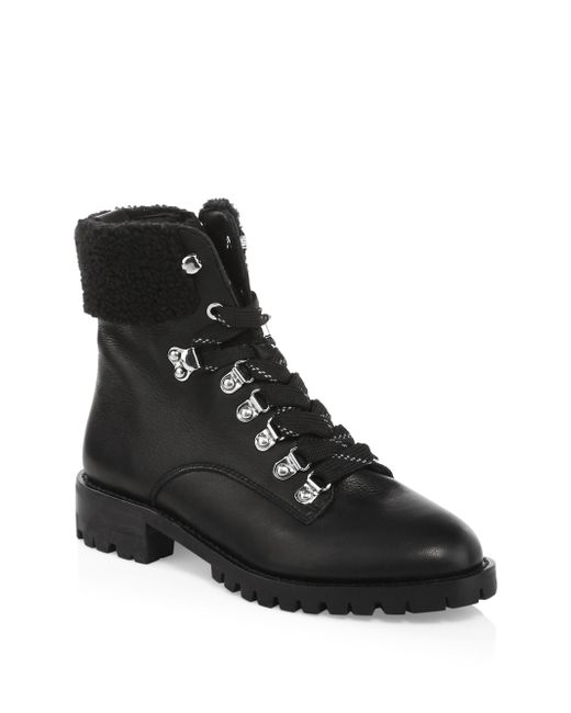 Rebecca Minkoff - Black Jaylin Leather Hiking Boots - Lyst