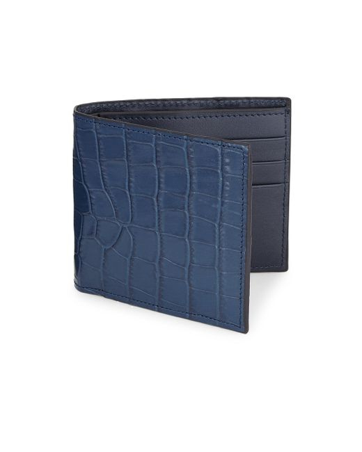 Saks Fifth Avenue - Blue Printed Croc Leather Card Case for Men - Lyst