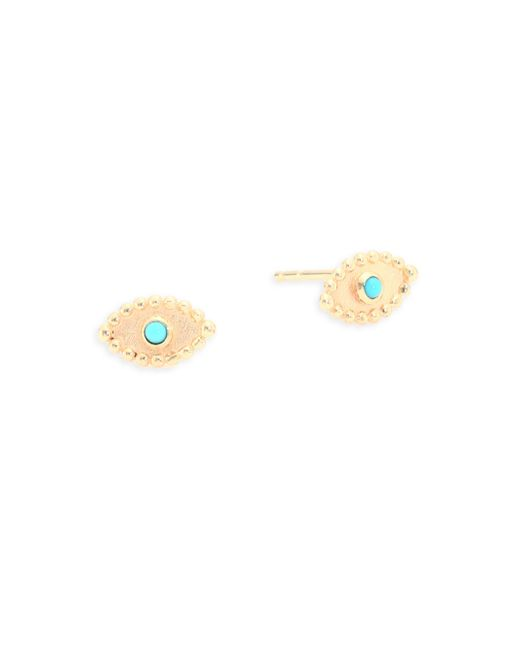 Anzie | Metallic Dew Drop Turquoise & 14k Yellow Gold Stud Earrings | Lyst