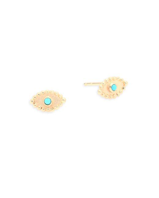 Anzie - Metallic Dew Drop Turquoise & 14k Yellow Gold Stud Earrings - Lyst