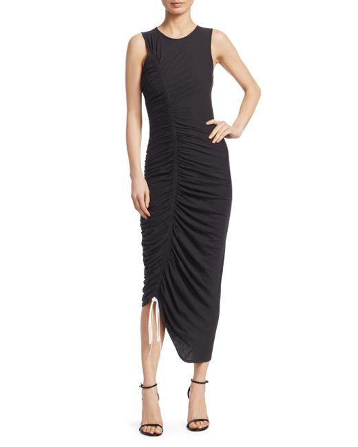 Cinq À Sept - Black Cora Ruched Cotton Jersey Dress - Lyst