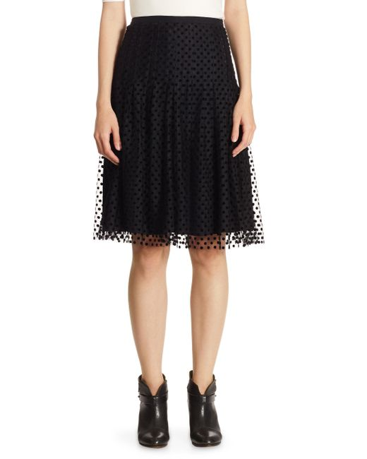 Akris Punto - Black Tulle Velvet Dot Skirt - Lyst