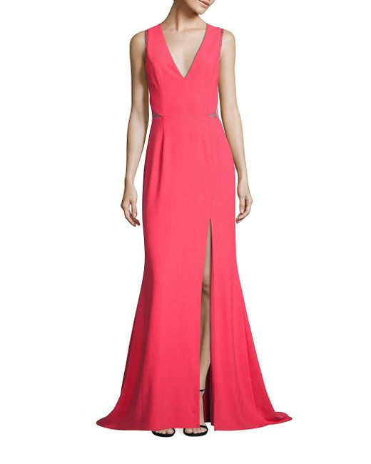 Aidan Mattox | Pink Crepe & Lace Gown | Lyst