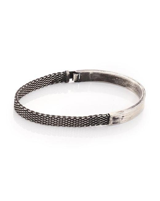 Title Of Work | Metallic Sterling Silver Mesh & Solid Bracelet for Men | Lyst