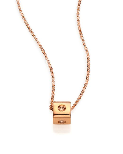 Roberto Coin - Pink Pois Moi 18k Rose Gold Mini Cube Pendant Necklace - Lyst