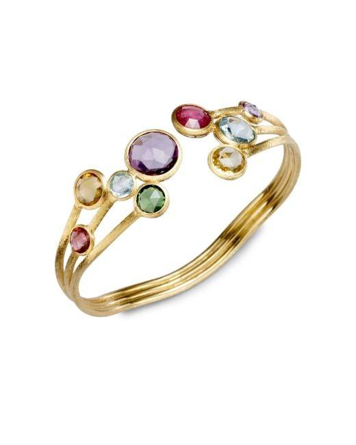 Marco Bicego | Metallic Jaipur Semi-precious Multi-stone & 18k Yellow Gold Three-row Cuff Bracelet | Lyst