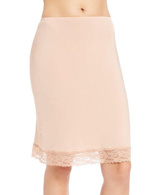 "Hanky Panky - Brown Silky Skin 22"" Lace-trim Back-slit Fitted Half Slip - Lyst"