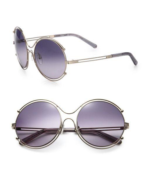 Chloé - Purple Isadora 59mm Round Sunglasses - Lyst
