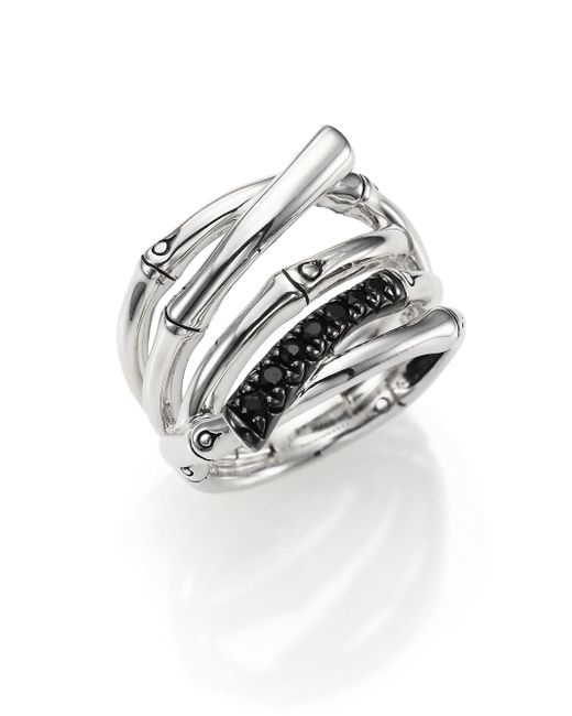 John Hardy - Metallic Bamboo Black Sapphire & Sterling Silver Multi-row Ring - Lyst