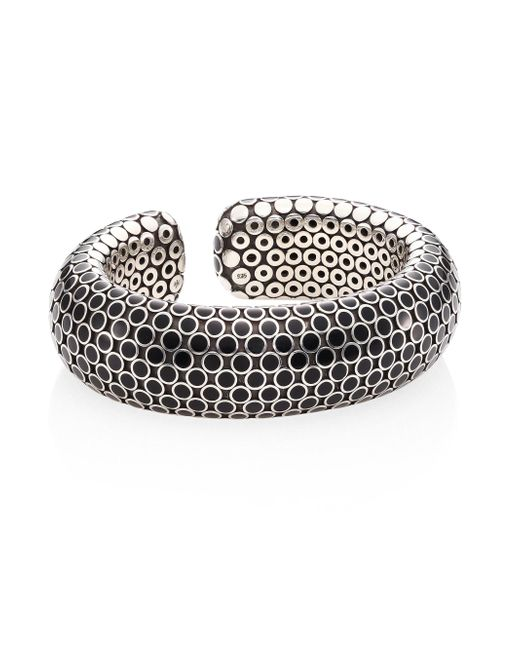 John Hardy - Metallic Dot Medium Sterling Silver Flex Cuff/black - Lyst