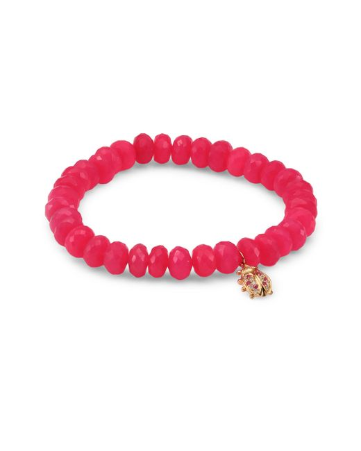 Sydney Evan - Multicolor Medium Ladybug Diamond, Ruby & Hot Pink Chalcedony Beaded Bracelet - Lyst