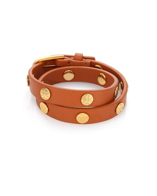 Tory Burch - Brown Double Wrap Logo Stud Bracelet - Lyst