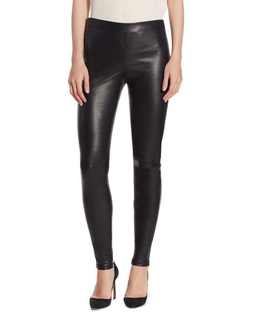 Theory - Black Adbelle Leather Leggings - Lyst