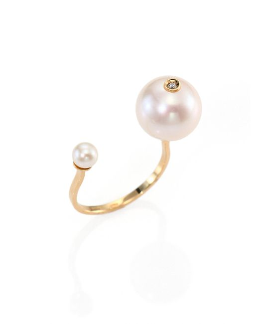 Delfina Delettrez | Metallic 4mm-11mm Freshwater White Pearl, Diamond & 18k Yellow Gold Piercing Ring | Lyst