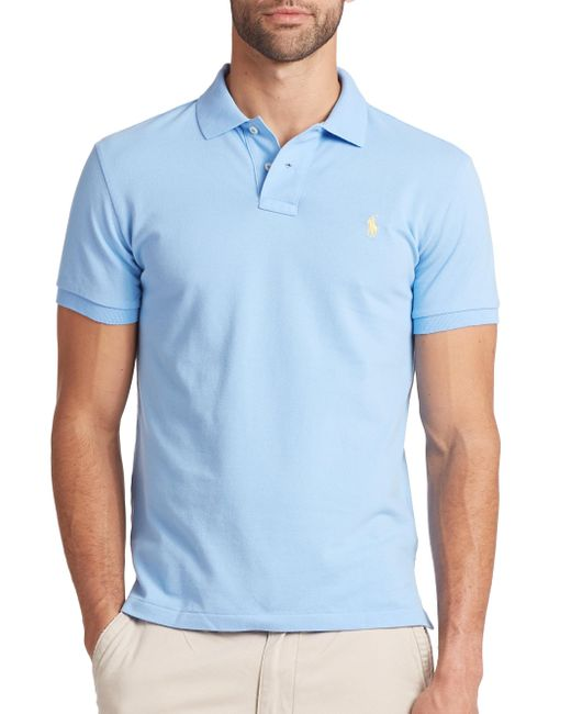 Polo Ralph Lauren | Blue Custom-fit Mesh Polo for Men | Lyst