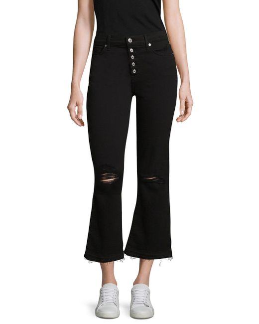 7 For All Mankind - Black Distressed Cropped Flare Jeans - Lyst
