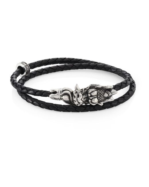 King Baby Studio | Black Sterling Silver & Braided Leather Small Dragon Bite Bracelet | Lyst