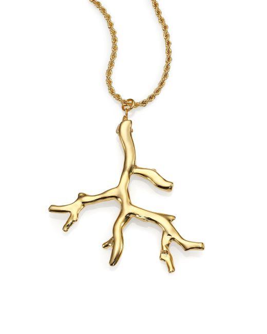 Kenneth Jay Lane - Metallic Branch Statement Pendant Necklace - Lyst