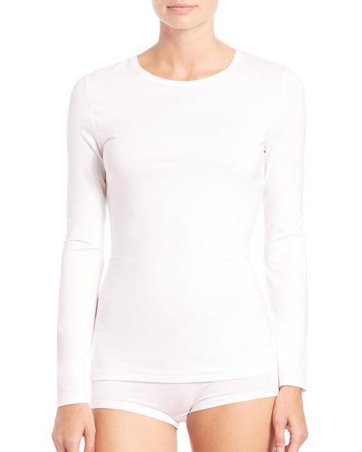 Hanro - White Soft Touch Long-sleeve Top - Lyst
