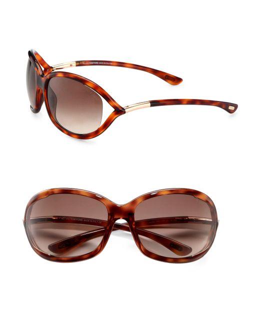 Tom Ford Brown Jennifer 61mm Oval Sunglasses/havana
