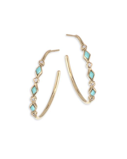 Sydney Evan - Metallic Diamond & Turquoise Bezel Hoop Earrings/0.75 - Lyst
