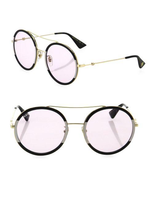 Gucci - Metallic 56mm Double-bridge Round Sunglasses - Lyst