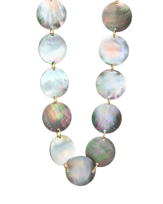 Nest - Gray Long Grey Mother-of-pearl Disc Necklace - Lyst