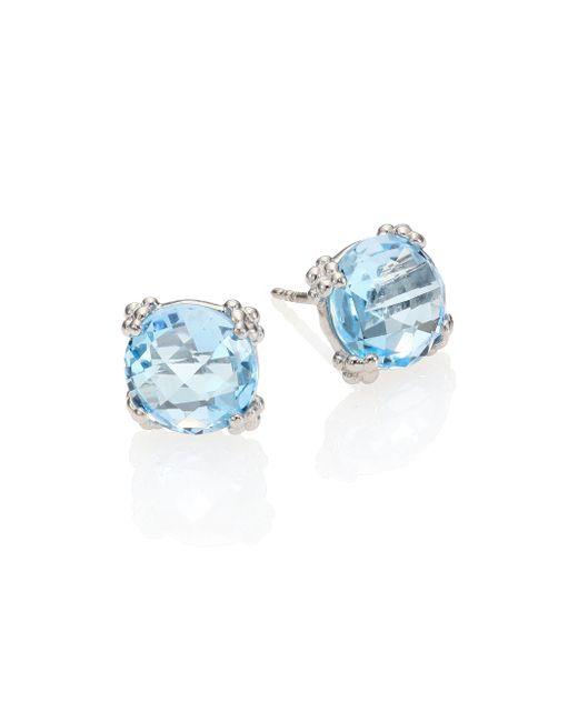 Anzie - Dew Drop Sky Blue Topaz & Sterling Silver Stud Earrings - Lyst