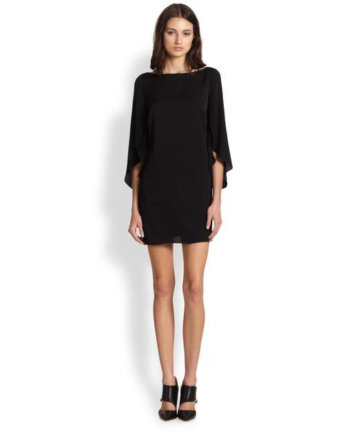 MILLY | Black Stretch Silk Butterfly Sleeve Dress | Lyst
