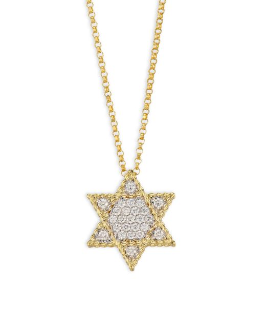Roberto Coin - Metallic Tiny Treasures Diamond & 18k Yellow Gold Star Of David Necklace - Lyst