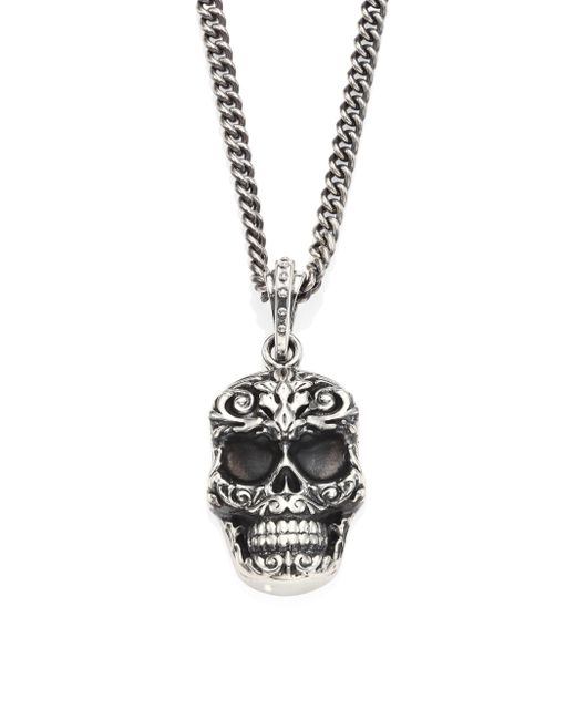 King Baby Studio | Metallic Sterling Silver Carved Baroque Skull Pendant Necklace for Men | Lyst