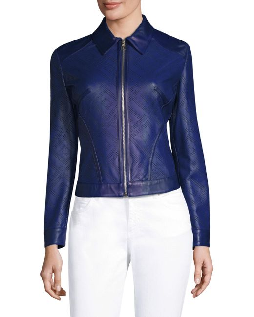 Versace - Blue Cut Out Leather Jacket - Lyst