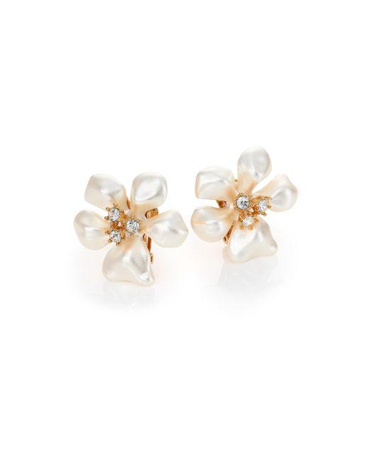 Kenneth Jay Lane - White Faux Pearl & Crystal Flower Clip-on Earrings - Lyst