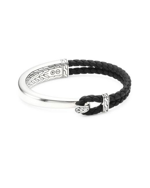 John Hardy - Black Braided Leather Loop Bracelet - Lyst