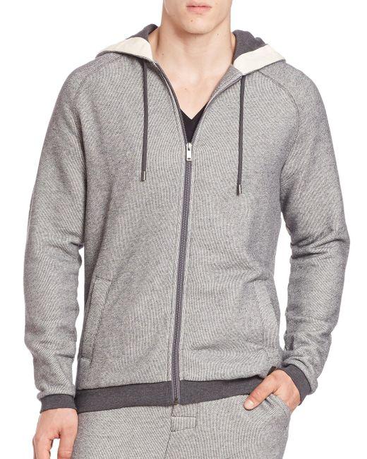 BOSS - Gray Heritage Zip-front Hoodie for Men - Lyst