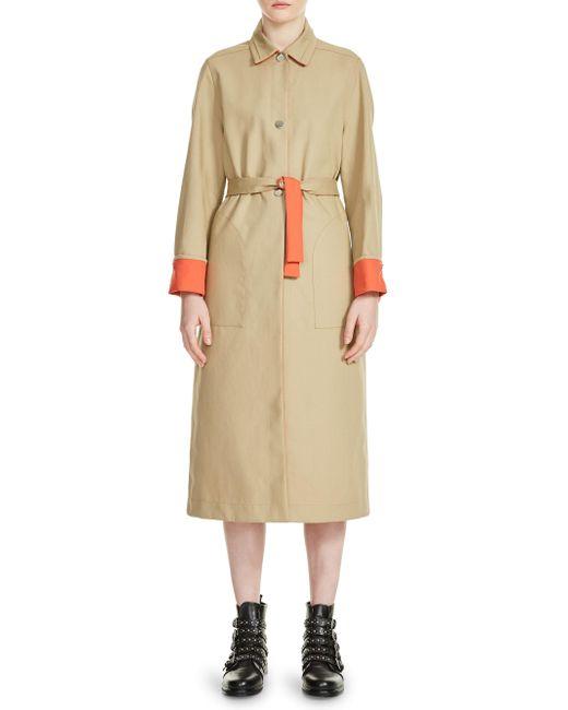 Maje - Natural Gemma Contrast-trim Trench Coat - Lyst