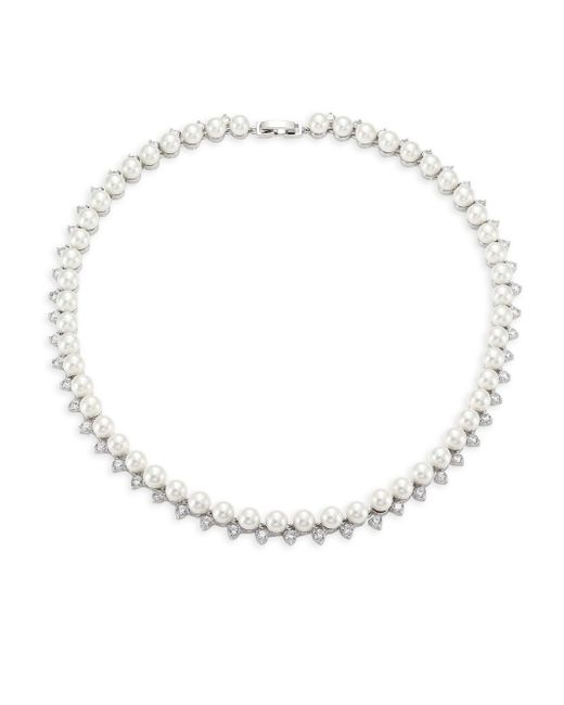 Fallon - Metallic Shell Pearl Pave Collar Necklace - Lyst