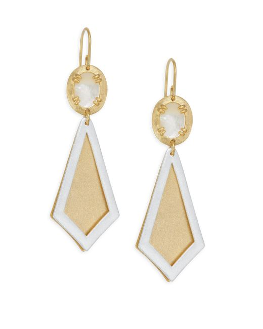 Stephanie Kantis - Metallic Ego Two-tone Brushed Gold & Mother-of-pearl Earrings - Lyst