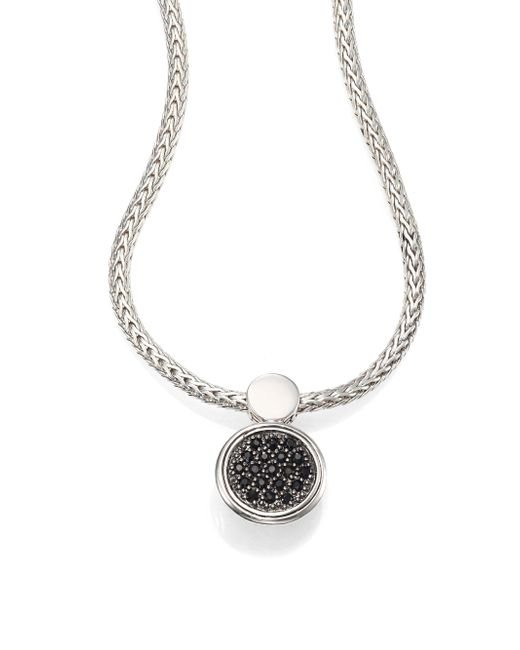 John Hardy | Metallic Dot Black Sapphire & Sterling Silver Lava Round Pendant Necklace | Lyst