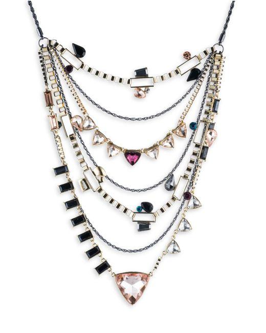 ABS By Allen Schwartz | Metallic Make Me Blush Layered Triangle Necklace | Lyst
