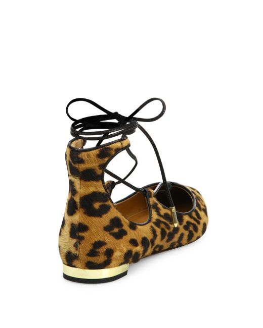 Aquazzura Christy Leopard-Print Calf Hair Lace-Up Flats TLzrx