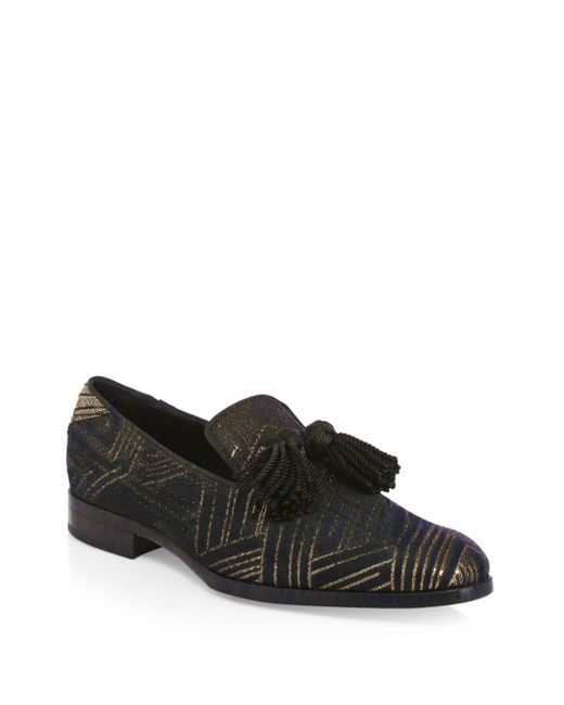 Jimmy Choo - Black Foxley Metallic Print Loafers for Men - Lyst