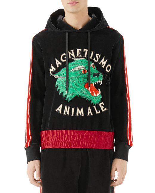 5fa5618d Gucci - Men's Magnetismo Animale Chenille Hoodie - Black Multi for Men ...