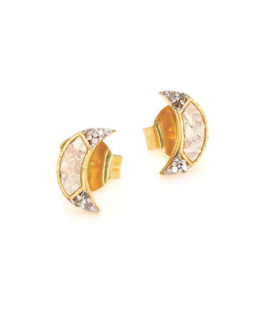 Shana Gulati - Metallic Banjara Champagne Diamond Noorpur Crescent Studs - Lyst