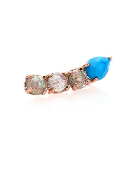 Jacquie Aiche | Blue Turquoise, Labradorite & 14K Rose Gold Single Ear Cuff | Lyst