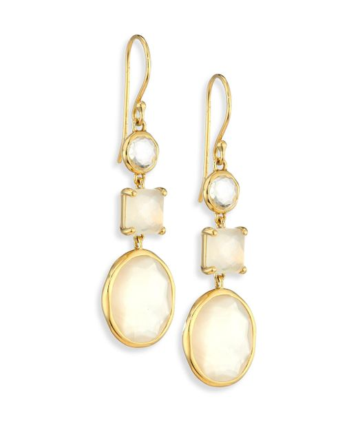 Ippolita | Metallic Rock Candy? Flirt 3-stone 18k Yellow Gold Drop Earrings | Lyst